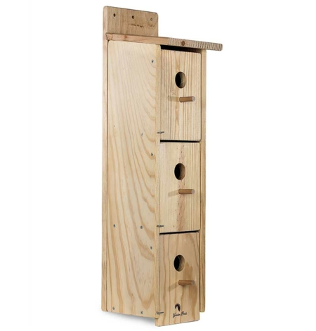 Caja nido de madera triple para colonia de gorriones
