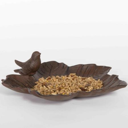 OI-BB Bebedero de hierro envejecido para aves de jardín